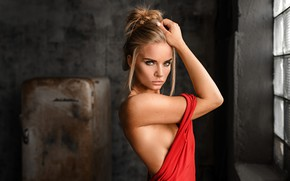 Wallpaper look, face, pose, back, hand, red dress, Svetlana, Eugene Marklew