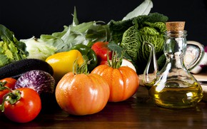 Picture oil, eggplant, vegetables, tomatoes, cabbage