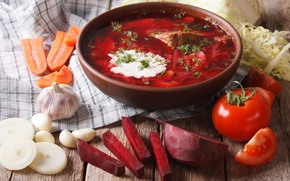 Picture bow, soup, meat, vegetables, carrots, soup, tomatoes, meat, vegetables, beets, soups
