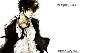 Picture tie, guy, white shirt, psycho-pass, psycho-passport, shinya kougami, by akira amano