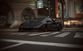 Picture road, street, Zebra, car, F40 LM Extreme