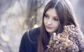 Picture girl, flowers, face, background, sweetheart, portrait, long hair, gentle, Rus
