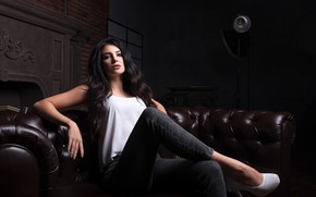 Picture look, pose, portrait, jeans, makeup, hairstyle, shoes, blouse, brown hair, beauty, sitting, on the couch, …