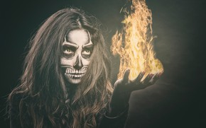 Wallpaper eyes, girl, face, style, fire, flame, hair, skull, hand, makeup, skeleton, manicure