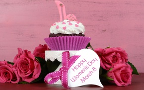 Picture holiday, heart, roses, red, cake, bow, March 8, cupcake, cupcake