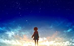 Picture the sky, girl, the sun, stars, clouds, sunset, anime, art, beyond, kyoukai no kanata, mirai …