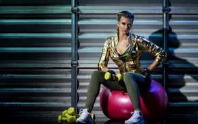 Picture model, blonde, ball, fitness