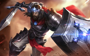 Picture cross, sword, shield, crystal, art, cloak, king, Heroes of Newerth, Jeraziah, The Iron King