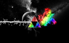 Picture Music, The moon, Space, Triangle, Pink Floyd, Pigeons, Prism, Rock, Dark side of the moon, …