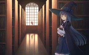 Picture hat, girl, corridor
