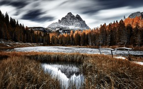 Picture mountains, nature, lake, Dolomites, Italie
