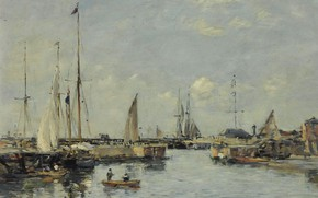 Picture ship, picture, sail, Eugene Boudin, Eugene Boudin, Shipping Lock at Trouville
