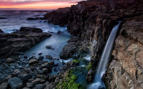 Picture sea, sunset, waterfall