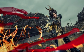 Picture style, background, fire, sword, cosplay