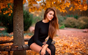 Wallpaper bokeh, depth of field, lips, model, portrait, painted nails, long hair, looking at camera, sitting, ...