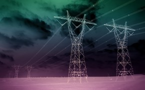 Picture field, night, color, power lines