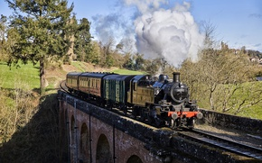 Picture bridge, smoke, train, the engine, cars
