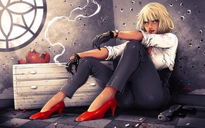 Wallpaper cigarette, blonde, pants, Lorraine Broughton, art, Atomic Blonde, girl, shoes, Charlize Theron, gun