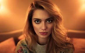 Picture look, girl, lamp, portrait, makeup, hairstyle, beautiful, redhead, bokeh, jumper
