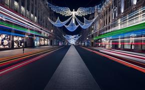 Wallpaper city, lights, christmas, road, night, street, angels, London, England, Britain, traffic, architecture, festive, decorations, urban, ...