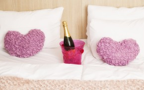 Picture bottle, bed, ice, pillow, bucket, bed, hearts, champagne, Valentine's day, bedroom