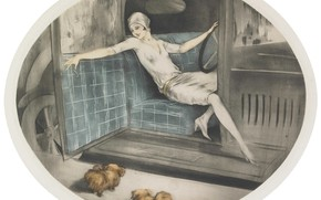 Picture 1929, Louis Icart, two dogs, the woman behind the wheel, Nineteen thirty
