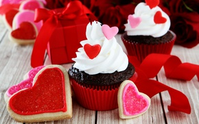 Wallpaper hearts, red, love, romantic, hearts, sweet, valentine's day, cupcake, cupcakes