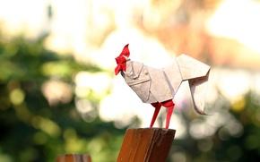 Picture paper, origami, cock