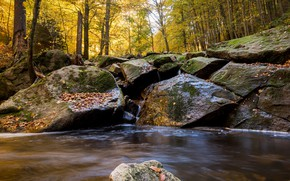 Picture autumn, forest, water, river, stones, waterfall, hdr, ultra hd, 4k, river in the mountains, river …