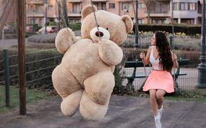 Wallpaper bear, swing, girl