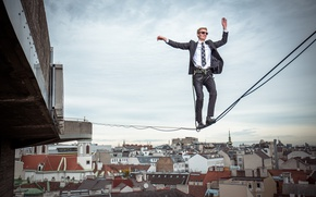 Wallpaper insurance, the city, Vienna, tightrope Walker, height, male