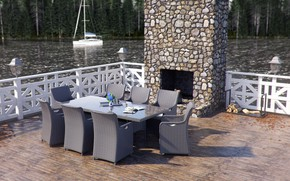 Picture furniture, yacht, wood, pond, Rattan Furniture CGI