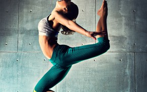 Picture background, jump, dance, figure, brown hair, topic, leggings