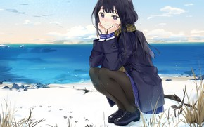 Picture grass, look, girl, anime, brunette