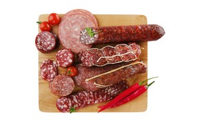 Picture white background, Board, pepper, tomatoes, sausage