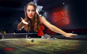 Wallpaper throw, chips, girl, casino, bones, the excitement