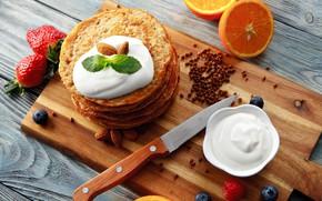 Picture orange, cream, strawberry, knife, mint, pancakes
