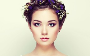 Picture eyes, look, girl, flowers, portrait, Sasha, bokeh, Oleg Gekman, Alexander Brocca