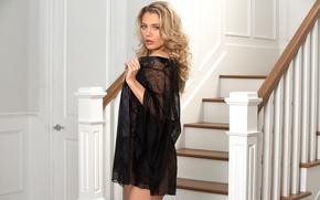 Picture sexy, model, negligee, ladder, curls, Blondie, Anna Opsal