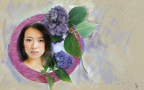 Picture Asian, in the circle, imitation, strokes, painting, sweetheart, light, actress, drawn, background, picture, portrait, pastel, ...
