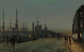 Picture lights, ship, home, picture, lights, promenade, the urban landscape, John Atkinson Grimshaw, John Atkinson Grimshaw, ...