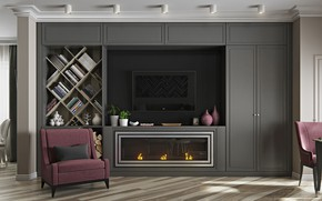 Picture furniture, interior, fireplace, the room, Living room