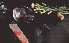 Picture fragments, bouquet, knife, tube, glass
