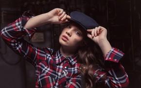 Picture look, girl, face, portrait, hands, cap, shirt, Sergey Melifera