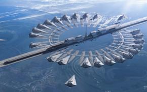 Wallpaper planet, artwork, science fiction, Star Destroyer, digital art, portal, Rogue One: A Star Wars Story, ...