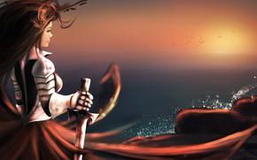 Picture girl, sunset, sword, armor, warrior, art, hero, warrior, creative, artwork, artlove, artdrawing, artlover