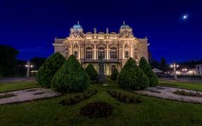 Picture trees, night, the building, Poland, monument, theatre, Poland, Krakow, Krakow, The Theatre Of Juliusz Słowacki., ...