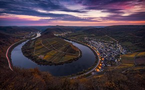 Wallpaper clouds, autumn, the sky, town, the evening, lights, excerpt, road, river