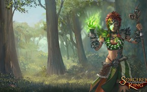 Picture forest, woman, tattoo, staff, Sorcerer King