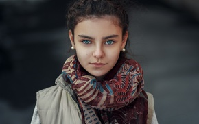 Wallpaper eyes, photographer, scarf, To Happiness, look, girl, Janibek Bakyt, portrait
